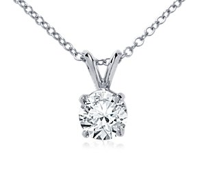 Double-Bail Solitaire Pendant Setting in 18k White Gold